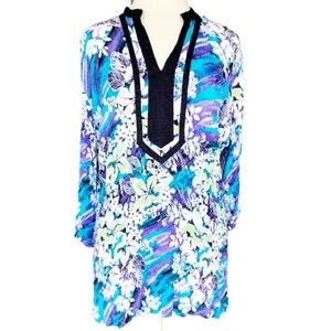 Jaclyn Smith Floral 3/4 Sleeve Tunic/Top Size XXL